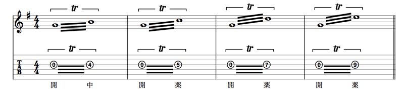 Ex-1 開放弦を使ったトリル