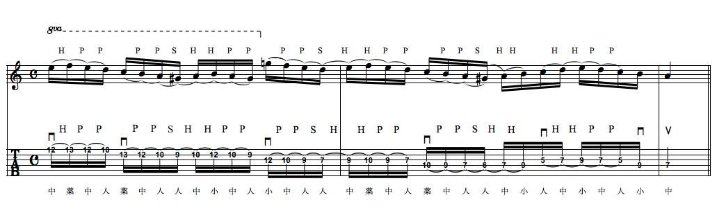 Ex-1 弦移動を伴うレガート・フレーズ